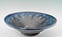 "Handmade Pottery Large Kaleidoscope Bowl 13"" in Graphite Glaze"