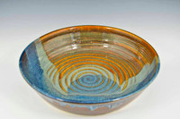 Stoneware Pottery Pasta Bowl in Ocean Blue Glaze