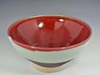 """11.5"""" Handmade Porcelain Large Serving Bowl, Red Green"""
