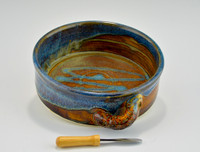 Handmade Stoneware Brie Baker with Knife in Ocean Blue Glaze