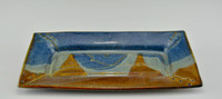 Handmade Stoneware Rectangular Cracker Tray in Ocean Blue Glaze