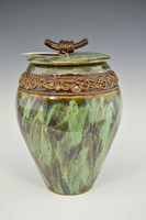 Large Green Treasure Jar w Lid