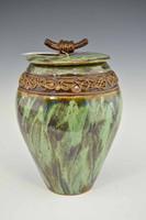 Large Green Treasure Jar w Lid