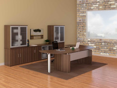 Medina Curved Desk Suite-Textured Brown Sugar