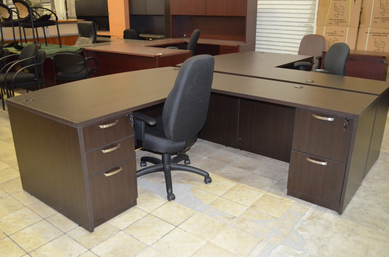 EspressoLShape Desk Office Furniture Warehouse - Office furniture warehouse
