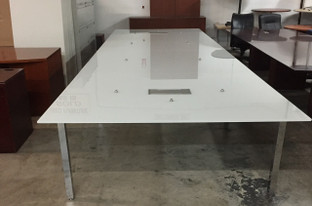 Conference Table 19'x6', white glass top with two power modules  on chrome base