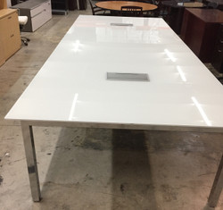 Conference Table 12'x5', with two power modules on chrome base
