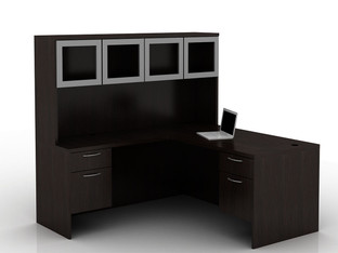 OFW TL L-Shape Desk with Glass Hutch BF 30x66