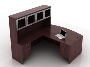 OFW TL L-Shape Desk with Glass Hutch BF 36x72