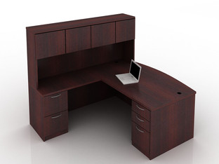 OFW TL L-Shape Desk with Hutch BBF & FF 36x72
