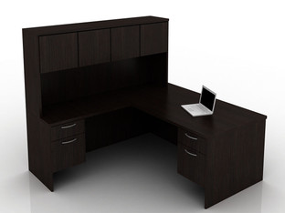 OFW TL L-Shape Rectangular Desk with Hutch BF 36x72
