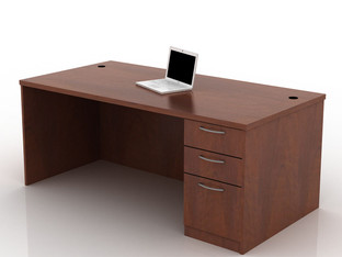 OFW TL Single Pedestal Rectangular Desk with BBF 36x72