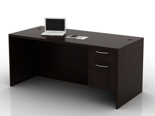 OFW TL Single Pedestal Desk with BF 30x66