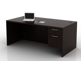 OFW TL Single Pedestal Rectangular Desk with BF 36x72
