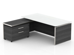 OFW VL L-Shape Glass Top Executive Desk