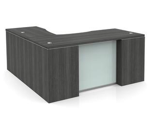 OFW VL L-Shape Desk with Glass Modesty