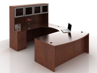 OFW TL U-Shape Desk with Glass Hutch BBF & FF 36x72
