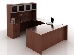 OFW TL U-Shape Rectangular Desk with Glass Hutch BBF & FF 36x72