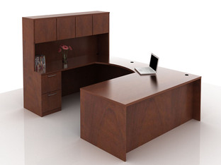 OFW TL U-Shape Rectangular Desk with Hutch BBF & FF 36x72