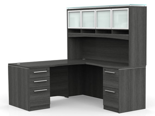 OFW VL L-Shape Desk with Glass Hutch
