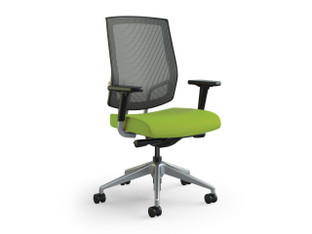 Focus Work midback task chair, slate mesh, Maharam Messenger Neon, adjustable arms, polished aluminum base