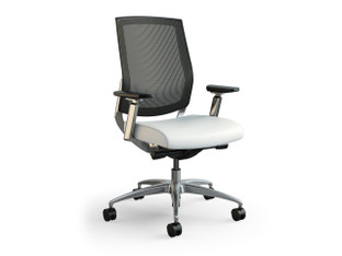 Focus Executive highback mesh chair, Greenhides Sierra White, Sand mesh, adjustable arms, polished aluminum base
