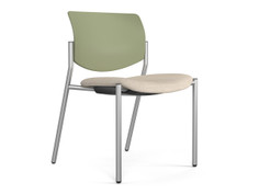 Freelance side chair, sage shell, Knoll Sonnet Ivory, silver frame