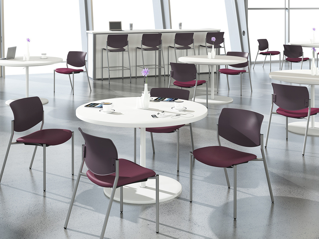Freelance Multipurpose Chairs And Stools, SitOnIt Seating Ultrafabrics  Brisa Fresco Dahlia, Silver Frame ...