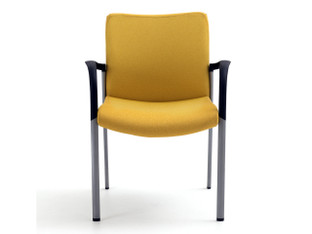 Achieve side chair, upholstered, Maharam Messenger Lumine, silver finish