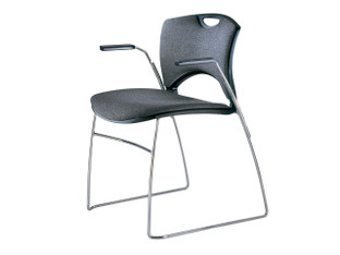 OnCall upholstered chair, black shell, Momentum Era Char, chrome frame