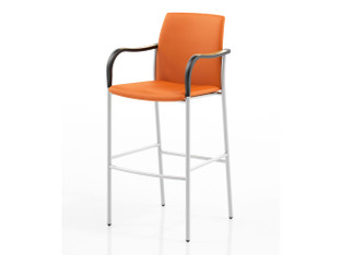Artisan P-62222 Barstool with Alloy frame, Urethane arms, Plastic foot, Fully Upholstered back and seat.