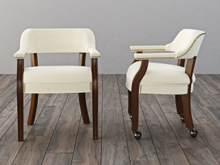 "Captain Seating, with and without casters. Shown in Shaker and upholstered in Epic ""Pearl"". Model numbers W-882 & W-884."
