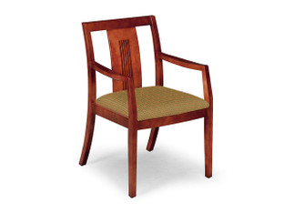"Fiesta W-303 Guest Chair with Wood Slat Back, shown in Shaker Finish and Knack ""Zing"" Upholstery."