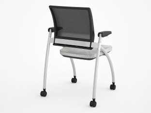 "Share Space Seating, Model with Options for Arms. Shown in Veer ""White"" from Momentum"