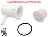 "Air Injector, Top Flo, 3/8""b, 90° ELL Body, White, Salt & Pepper Style"