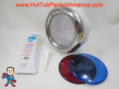 "Spa Hot Tub Chrome Light Lens Red & Blue Covers Kit Silicon 5"" Face How To Video"