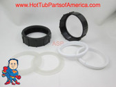 "Set of (2) 2 1/2"" Spa Hot Tub Heater Union Retainer Nut & WW Gasket Video How To"
