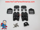 Spa Hot Tub Cover (2) Latch Lock Kit Key ACW Latch Strap Repair Kit Clip Video