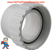 """Hot Tub Spa 2 1/2""""Threaded X 2 1/2"""" Slip Pump Union for Viper Xp3 Some Executive This part screws onto a Pump Wet End threads that measures about 3 /58"""" across the threads and a 2 1/2"""" pipe glues into the slip side and measures about 3"""" on the outside Diameter.."""