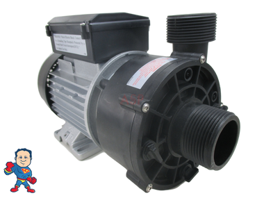 """Note: The pump comes with the pressure side of the wet end turned to 12 o'clock position to turn it to fit your original version simply loosen the 4 thru bolts and turn the wet end to the needed position and tighten the 4 bolts back up..  6500-907 LX Circulation Pump WTC50M 230V 2006+ Jacuzzi® J-400 Premium Sundance® 1 1/2"""" Side Discharge"""