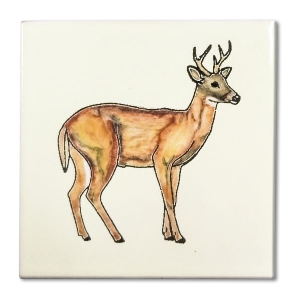 Mexican hand painted Full Body Buck decorative clay tile  Due to the nature of this product, they may be irregular in shape, size, dimension, texture, and color.  Minor chipping and crazing are inherent in this product.