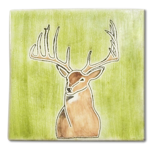Mexican hand painted Mount Buck decorative clay tile  Due to the nature of this product, they may be irregular in shape, size, dimension, texture, and color.  Minor chipping and crazing are inherent in this product.
