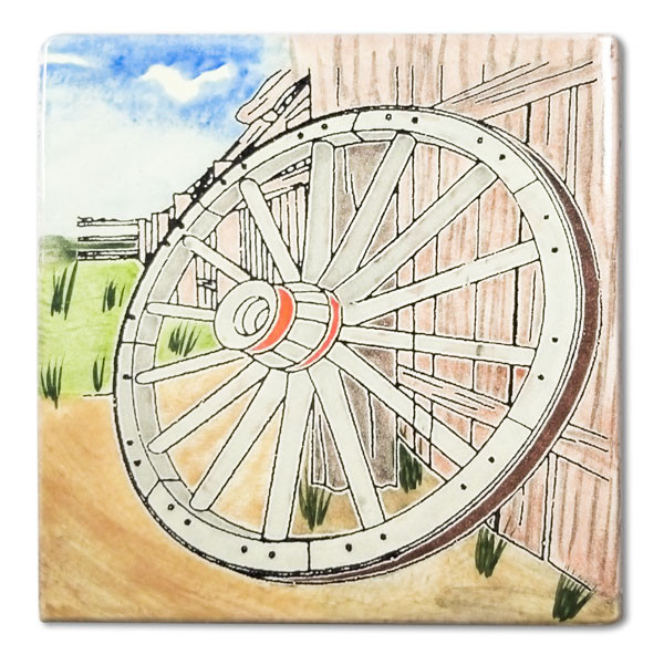 Mexican hand painted Wagon Wheel decorative clay tile  Due to the nature of this product, they may be irregular in shape, size, dimension, texture, and color.  Minor chipping and crazing are inherent in this product.