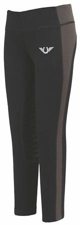 TuffRider Children's Ventilated Schooling Tights - Black/Charcoal