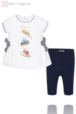 Baby Girl Leggings & Blouse Set in Navy