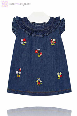 Baby Girl Embroidered Denim Dress