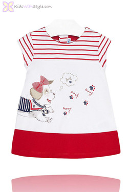 Baby Girl Nautical Puppy Dress in Red