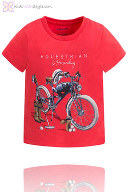 Boys Graphic Bike T-Shirt in Red