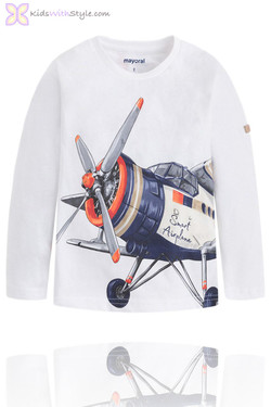 Boys Airplane Graphic Long Sleeve T-Shirt in White