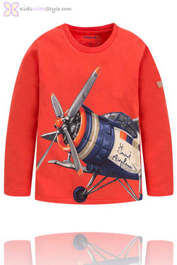 Boys Airplane Graphic Long Sleeve T-Shirt in Red